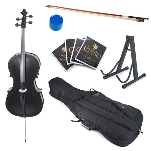 Cecilio CCO-Black Student Cello with Soft Case, Stand, Bow, Rosin, Bridge and Extra Set of Strings, Size 1/2