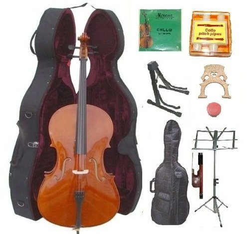 Merano 4/4 Size Natural Cello with Hard Case + Soft Carrying Bag+bow+rosin+extra Set of Strings+extra Bridge+pitch Pipe+black Cello Stand+music Stand