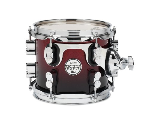 Pacific Drums PDCM0708STRB 7 x 8 Inches Tom with Chrome Hardware – Red to Black Fade