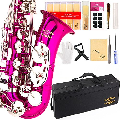 Glory Pink/Silver keys E Flat Alto Saxophone with 11reeds,8 Pads cushions,case,carekit-More Colors with Silver or Gold keys