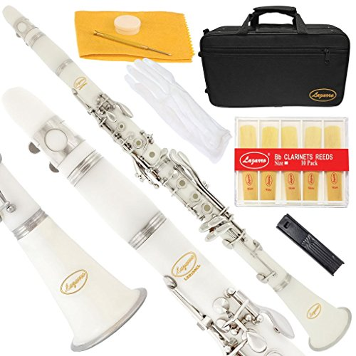 150-WH – WHITE/SILVER Keys Bb B flat Clarinet Lazarro+11 Reeds,Case,Care Kit~24 COLORS Available,CLICK on LISTING to SEE All Colors