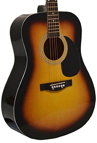 41″ Inch Full Size Sunburst Handcrafted Steel String Dreadnought Acoustic Guitar & DirectlyCheap(TM) Translucent Blue Medium Guitar Pick (PRO-1 Series)