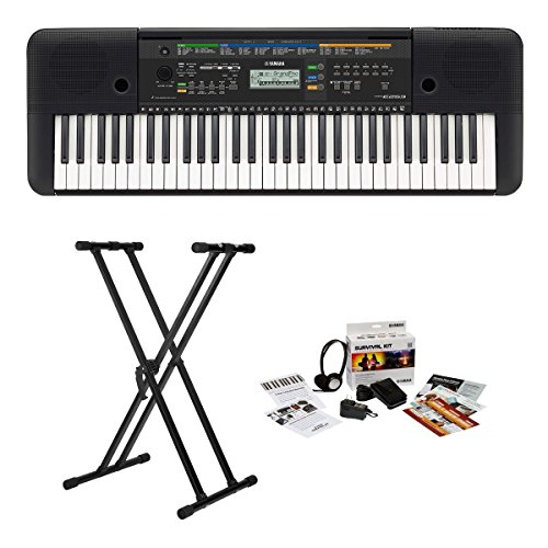 Yamaha PSRE253 61-Key Portable Keyboard with Adjustable Double X Keyboard Stand and Yamaha Electronic Keyboard Survival Kit 1B
