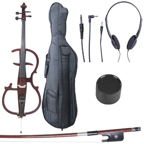 Cecilio 4/4 CECO-2DW Mahogany Metallic Electric Cello with Ebony Fittings in Style 2 (Full Size)