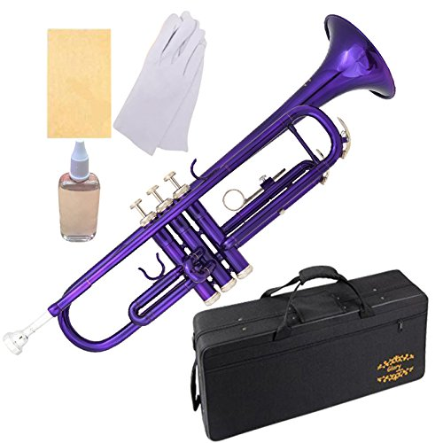 Glory Brass Bb Trumpet with Pro Case +Care Kit, Purple, More COLORS Available ! CLICK on LISTING to SEE All Colors