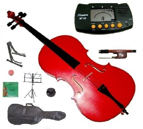 Merano 4/4 Full Size Red Student Cello with Bag and Bow+2 Sets of Strings+Cello Stand+Black Music Stand+Metro Tuner+Rosin+Rubber Round Mute