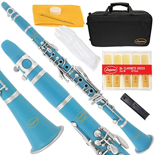 150-SB-L – SEA BLUE/SILVER Keys Bb B flat Clarinet Lazarro+11 Reeds,Case,Care Kit~24 COLORS Available,CLICK on LISTING to SEE All Colors
