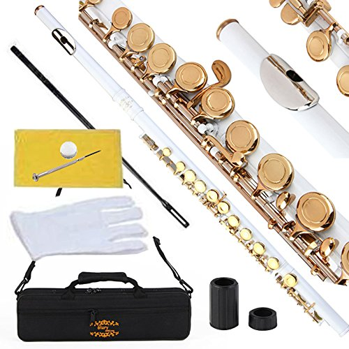 Glory Closed Hole C Flute With Case, Tuning Rod and Cloth,Joint Grease and Gloves White/Laquer -More Colors available,Click to see more colors