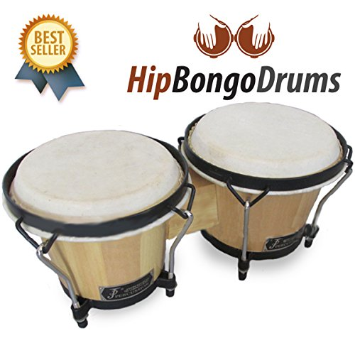 Hip Bongo Drums™ ★ Most Preferred Bongo Drums ★ All Natural Hides and Shells Perfect Percussion Sound ★ Extra Durable and Weatherproof ★ Built for Rough Handling By Beginners and Enthusiasts ★ No Sharp Edges to Hurt Kids Beautiful Design ★ Tunable Bongos 6 & 7 Inch – 266