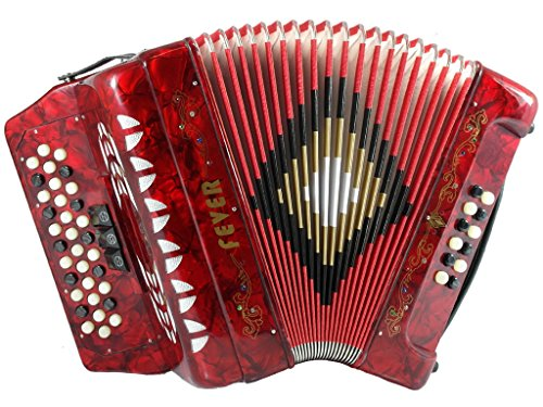 Fever F3412-RD Button Accordion with 34 Keys and 12 Bass on GCF Key, Red