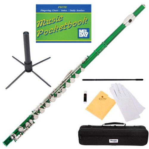 Mendini MFE-GN+SD+PB Green Lacquer Closed Hole C Flute with 1 Year Warranty, Case, Stand, Cleaning Rod and Cloth, Joint Grease, and Gloves