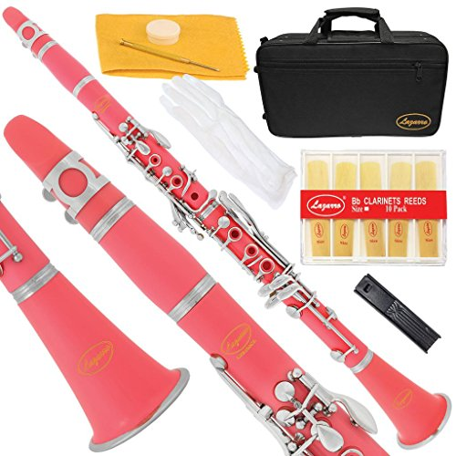 150-PK – PINK/SILVER Keys Bb B flat Clarinet Lazarro+11 Reeds,Case,Care Kit~24 COLORS Available,CLICK on LISTING to SEE All Colors