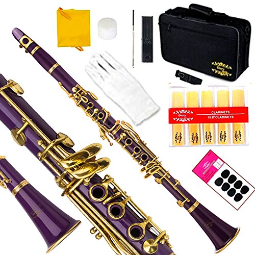 Glory Purple/Gold keys B Bb Flat Clarinet with Second Barrel, 11reeds,8 Pads cushions,case,carekit,Click to see More Colors