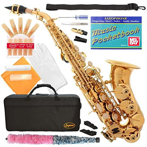320-LQ – GOLD/Lacquer Curved Bb Soprano Saxophone Lazarro+11 Reeds,Music Pocketbook,Case,Care Kit – 24 COLORS – SILVER or GOLD KEYS – CHOOSE YOURS !
