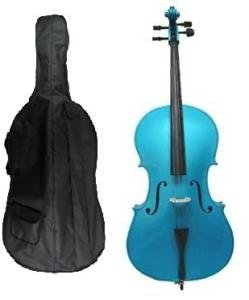 Grace 4/4 Size BLUE Cello for Beginners, Students with Bag and Bow, Free Rosin and Extra Set of Merano Brand Strings for Replacement