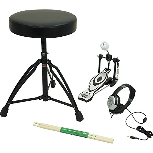 Stagg EDAP 3 Electronic Drum Accessory Pack with Black Headphones, Hickory Drum Sticks, Black Vinyl Drum Throne, & Bass Drum Pedal