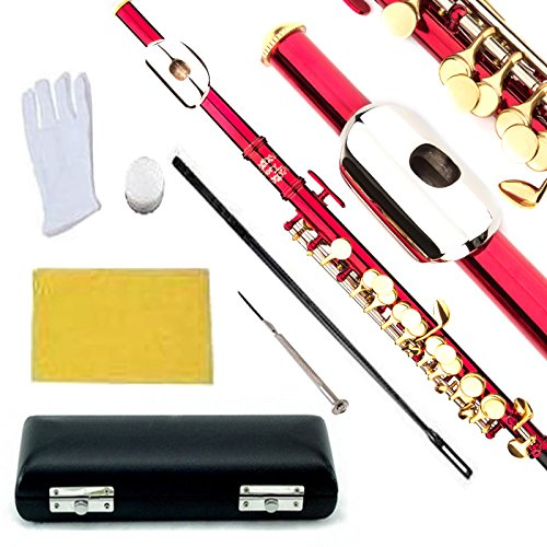 Glory Key of C Piccolo with Pro Case, Joint Grease, Cleaning Cloth and Rod, and Gloves, Red/Gold keys ~ More COLORS Available ! CLICK on LISTING to SEE All Colors