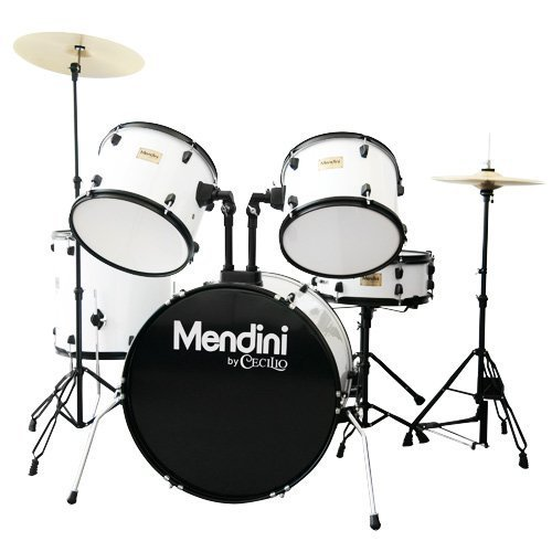 Mendini MDS80-WH Complete Full Size Senior 5-Piece 6-Ply Birch Wood White Drum Set with Cymbals, Drumsticks and Throne