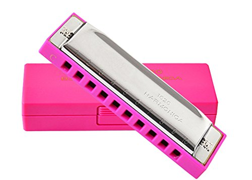 V-youth Baby Child Beginners 10 Tremolo Hole C Polyphony Tone Harmonica Toy (Pink)