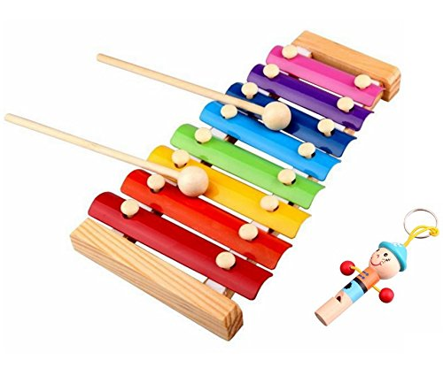 2 PCS/Set Melody Xylophone and Whistle Baby's Early Education Wooden Carl Orff Musical Instrument Toys Trailer 8 Scales , 24*13cm
