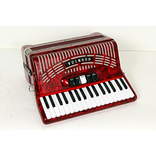 Hohner 72 Bass Entry Level Piano Accordion Red 888365559070