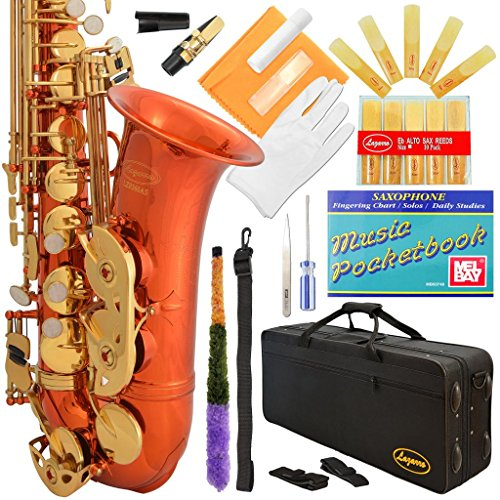 360-OR – ORANGE/Gold Alto Saxophone Lazarro+11 Reeds,Music Pocketbook,Pro Case and Care Kit – 24 COLORS Available ! CLICK on LISTING to SEE All Colors