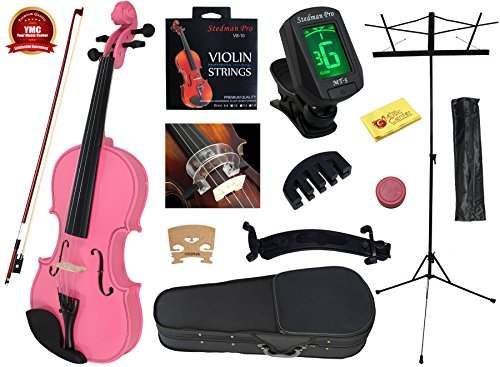 YMC 4/4 Full Size Handcrafted Solid Wood Student Violin Starter Kits (with Hard Case, Bow, Music Stand, Electronic Tuner, Bow Collimator, Shoulder Rest, Mute, Extra Strings, Polish Cloth, Rosin), Pink