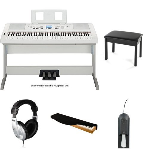 Yamaha DGX650WH Digital Piano with Bench, Headphones, Case, and Sustain Pedal