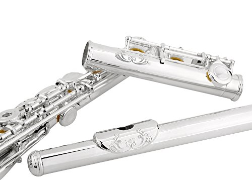 ENGRAVED SILVER Plated High Grade Flute,Glory Advanced Silver Plated Flute C Flute With Case, Tuning Rod and Cloth,Joint Grease and Gloves-,Click to see more colors