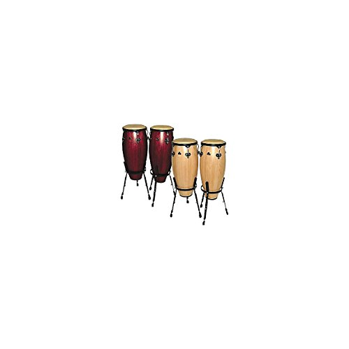 Nino Percussion NINO910NT 9-Inch and 10-Inch Wood Conga Set with Stands, Natural Finish