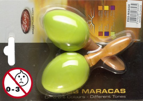 Stagg EGG-MA Plastic Egg Maracas Pair with Long Handle – Green