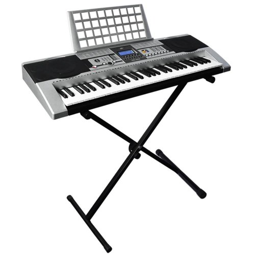 GHP 110v 61 Key Silver Music Electronic Piano Keyboard with Heavy Duty X Stand