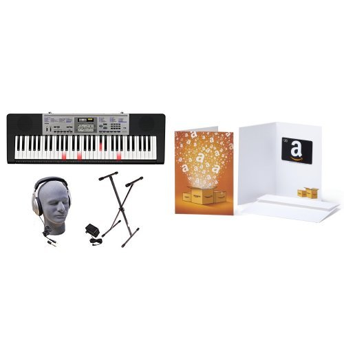 Casio Inc. LK175 PPK 61-Key Lighted Key Premium Keyboard Pack with Headphones, Power Supply, Stand, and $20 Amazon.com Gift Card