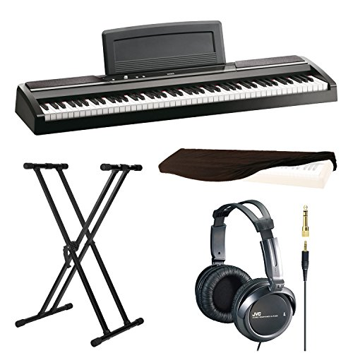 Korg SP170s 88-Key Digital Piano, Black with X-Style Keyboard Stand, Stereo Headphones and 88 Key Piano Dust Cover