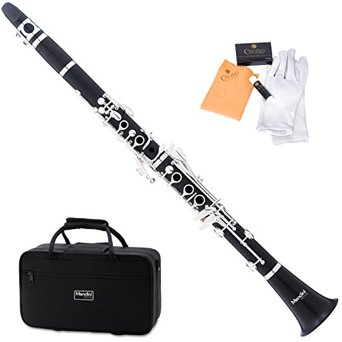 Mendini MCT-40 Intermediate Solid Ebony Wood B Flat Clarinet
