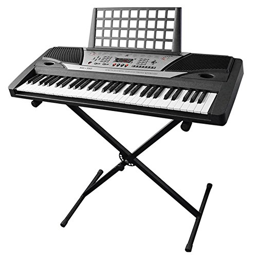 AW Electronic Piano Keyboard 61 Key Music Key Board Beginner 37x14x5″ Piano LCD Display w/ X Stand Manual