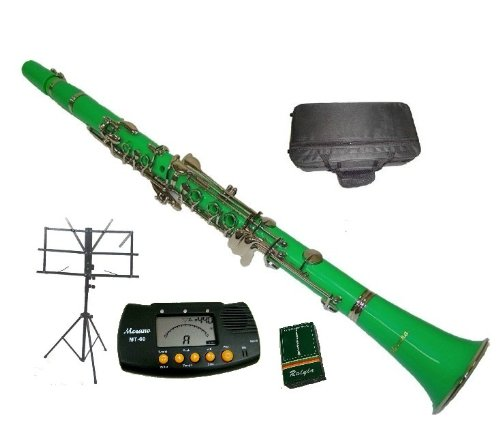 Merano B Flat Green / Silver Clarinet with Case+MouthPiece+Metro Tuner+Black Music Stand+11 Reeds