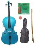 GRACE 4/4 Size Blue Cello with Bag and Bow+Rosin+Extra Set of Strings
