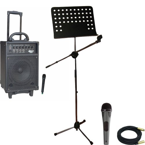 Pyle Speaker, Mic, Stand and Cable System Package for your Studio, Concert, Stage, Performance, Bar, Home, etc. – PWMA330 300 Watt VHF Wireless Battery Powered PA System W/Echo – PDMIK2 Professional Moving Coil Dynamic Handheld Microphone – PMSM9 Heavy Duty Tripod Microphone And Music Note Stand – PPMCL30 30ft. Symmetric Microphone Cable XLR Female to XLR Male