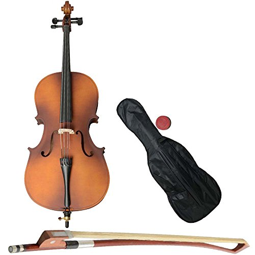 MicroMall(TM) 1/4 Size Student Acoustic Wood Cello with Soft Case,Bow and Rosin Natural Wood Color