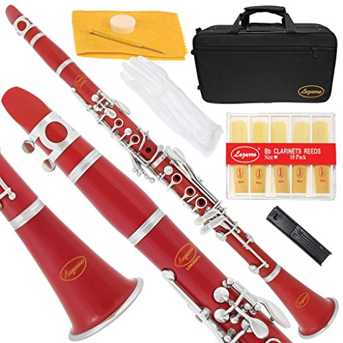 150-RD-L – RED/SILVER Keys Bb B flat Clarinet Lazarro+11 Reeds,Case,Care Kit~24 COLORS Available,CLICK on LISTING to SEE All Colors