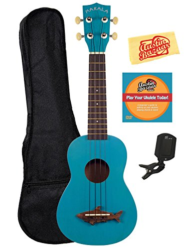 Kala MK-SS-BLU Makala Shark Soprano Ukulele Bundle with Gig Bag, Austin Bazaar Instructional DVD, Clip-On Tuner, and Polishing Cloth – Mako Blue