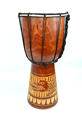 24″ DJEMBE DRUM BONGO HAND CARVED AFRICAN CARVED IN DRAGON GOATSKIN NYLON WRAPPED WILD DESIGN
