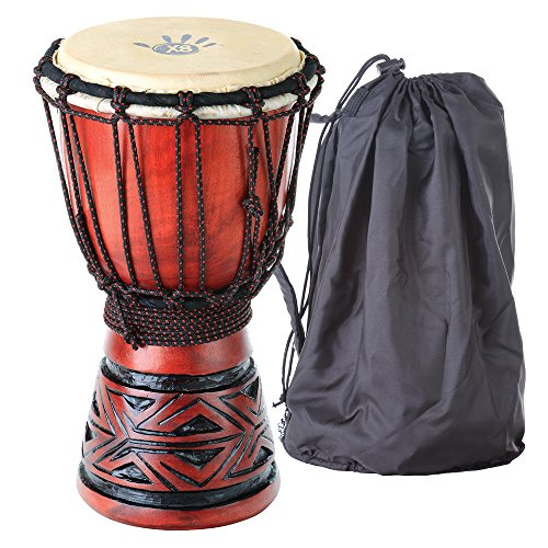 X8 Drums Celtic Labyrinth Djembe Drum with Tote Bag, Extra Small