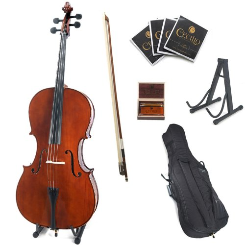 Cecilio CCO-200 Solid Wood Cello with Hard & Soft Case, Stand, Bow, Rosin, Bridge and Extra Set of Strings, Size 1/8