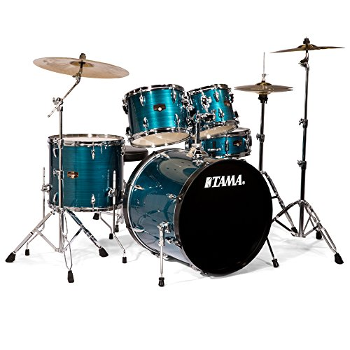 Tama IP52KCHLB Imperialstar 5-Piece Complete Drum Kit with 22″ Bass Drum & Hardware, Cymbals – Hairline Blue