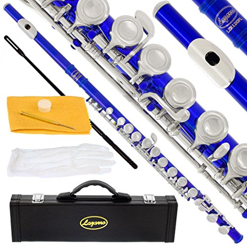120-BU-N – BLUE/SILVER Keys Closed C Flute Lazarro+Pro Case,Care Kit – 22 COLORS Available ! CLICK on LISTING to SEE All Colors