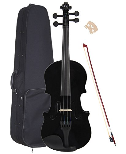 ViolinSmart Solid Wood Black color 1/4 Size Violin with case and Accessories