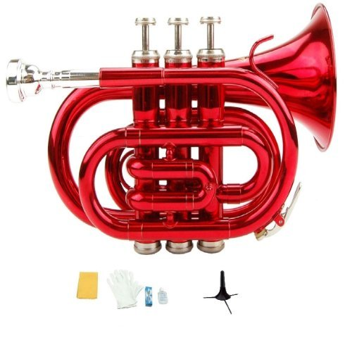 Merano B Flat Red Pocket Trumpet with Case+Mouth Piece;Valve oil;A Pair Of Gloves;Soft Cleaning Cloth+Stand