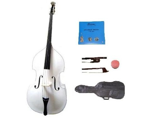 GRACE 3/4 Size White Upright Double Bass with Bag,Bow,Bridge+2 Sets Strings+Rosin